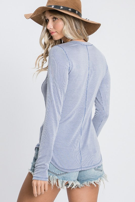 Ribbed Henley Top in Light Blue