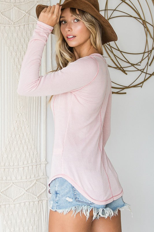Ribbed Henley Top in Light Pink