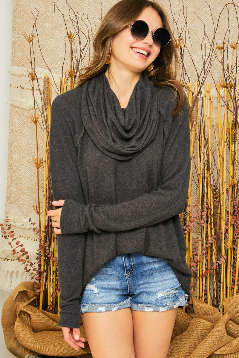 LAST CALL SIZE M | Brushed Knit Cowl Neck Top in Charcoal