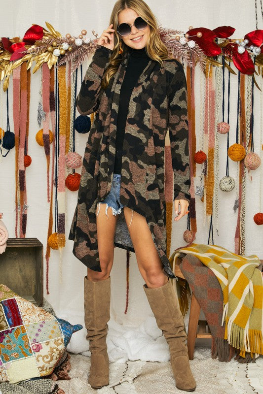 Camo Print High-Low Knit Cardigan