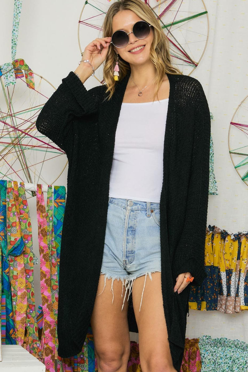 Lightweight Open-Front Cardigan in Black