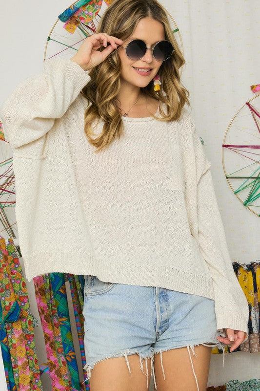 Solid Boatneck Sweater in Ivory