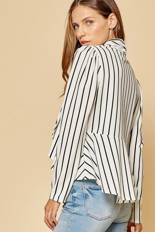 Open Front Peplum Blazer Jacket in Black and White Stripes
