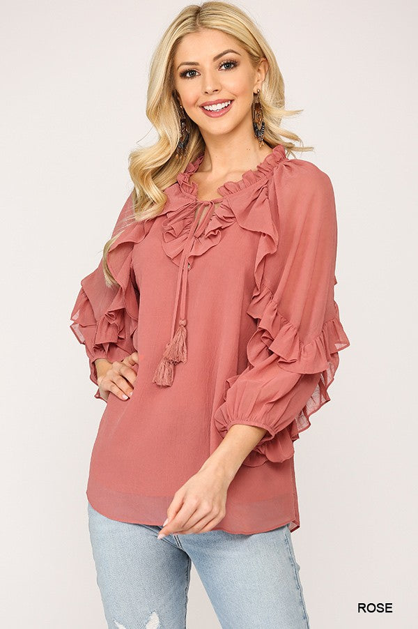 Long Sleeve Ruffle Blouse in Rose