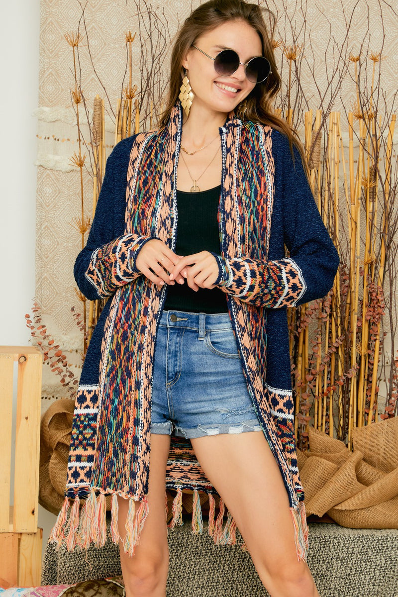 LAST CALL SIZE S/M | Tribal Open-Front Fringe Cardigan in Navy