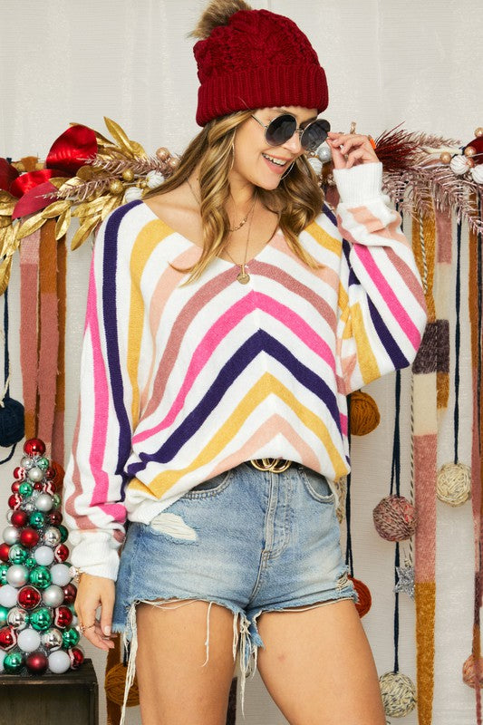 LAST CALL L | Multicolored Striped V-Neck Sweater