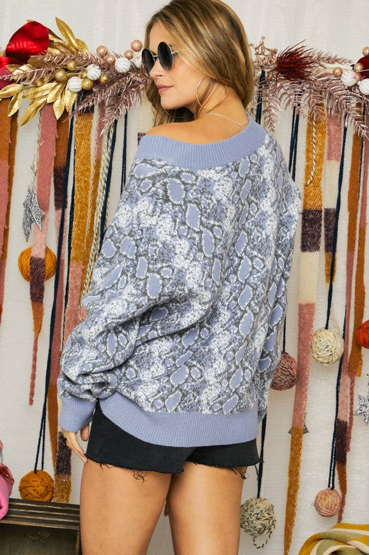 Blue Snakeskin V-Neck Sweater