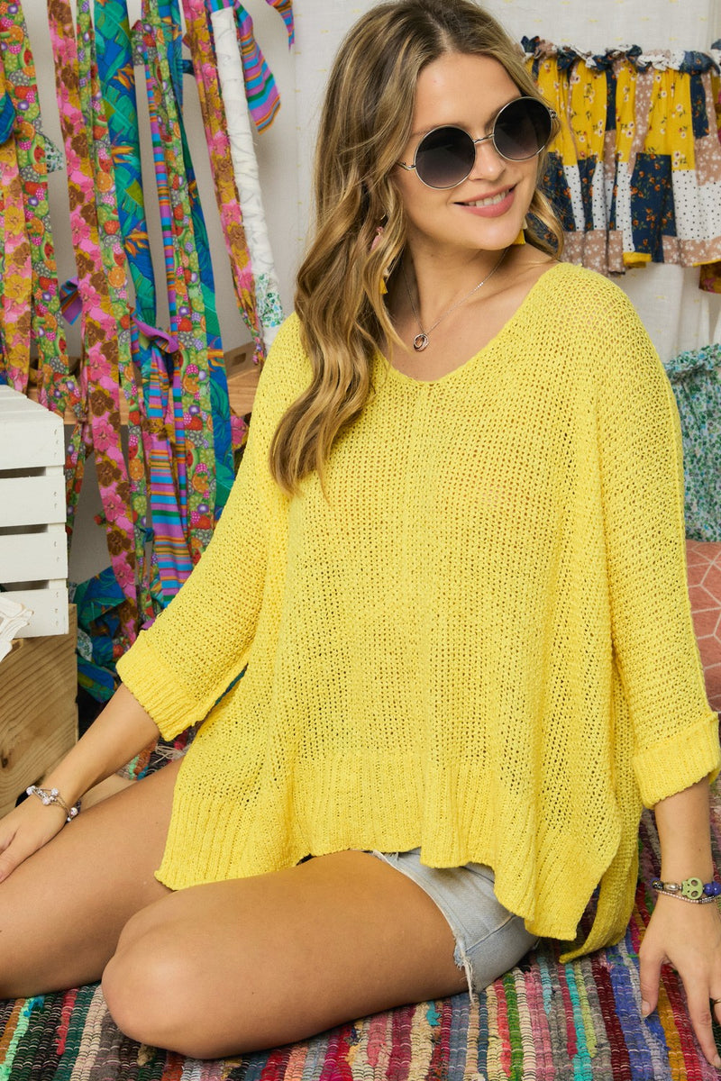 Solid Round Neck Sweater in Yellow