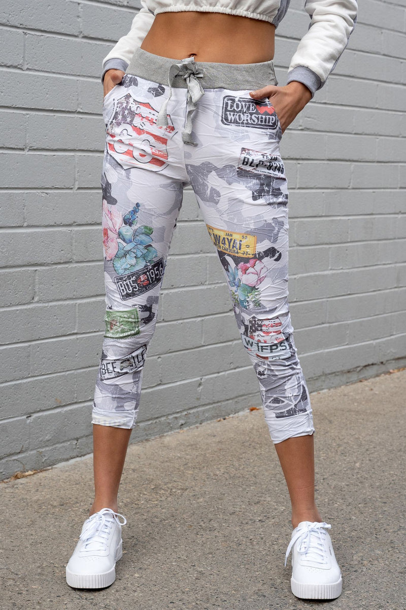LAST CALL SIZE M | Route 66 Crinkle Jogger Pants in White Camouflage