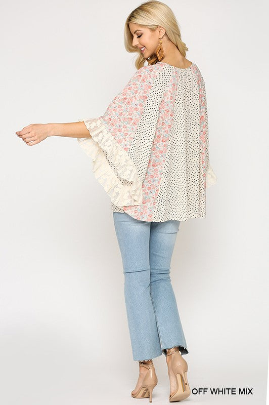 Floral and Polka Dot Lace Peasant Top in Off White