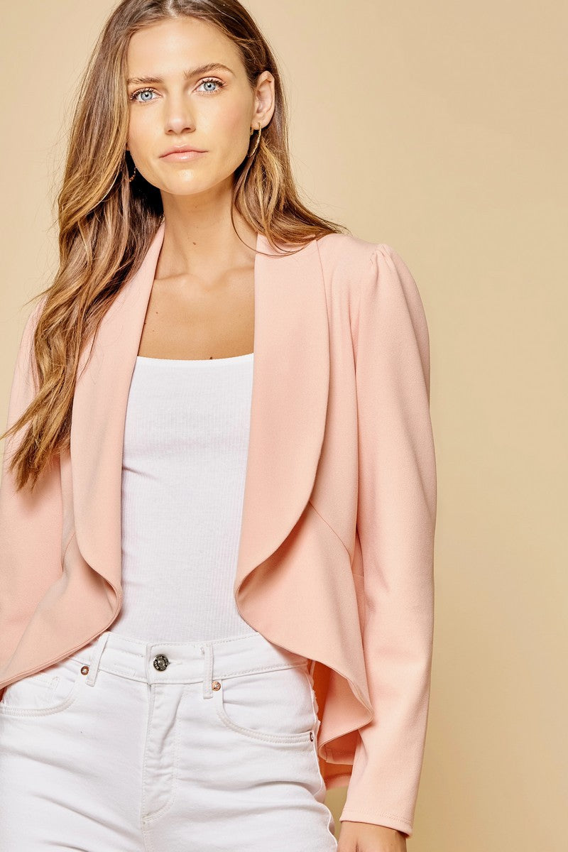 LAST CALL SIZE L | Open Front Peplum Blazer Jacket in Blush