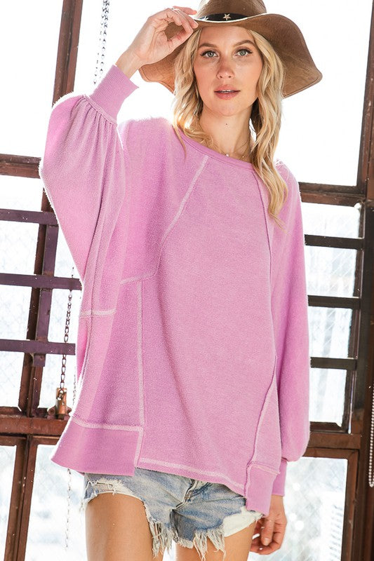 LAST CALL SIZE L | Exposed Seam Detail Long Sleeve Top in Orchid