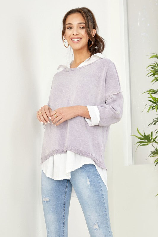 Two-Piece Layered Blouse & Lightweight Sweatshirt in Lavender