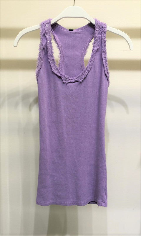 Fringe and Sequin Tank Top in Lilac
