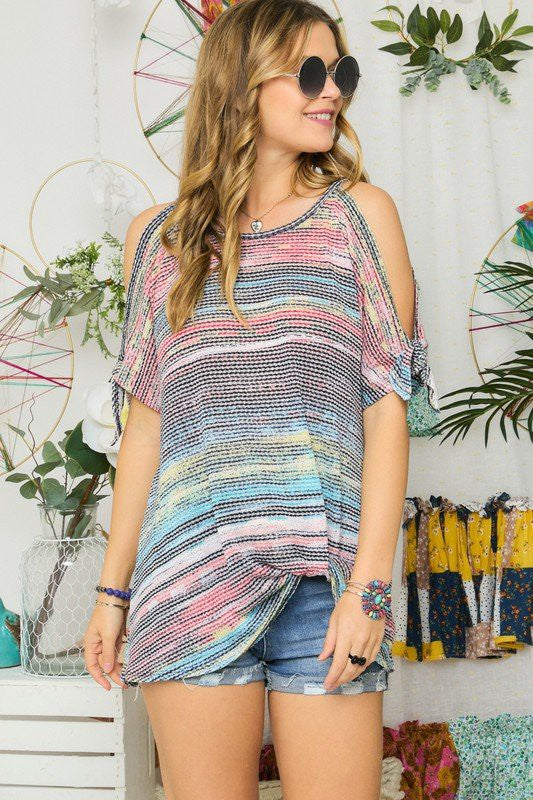 LAST CALL SIZE L | Open Sleeve Multicolor Striped Top