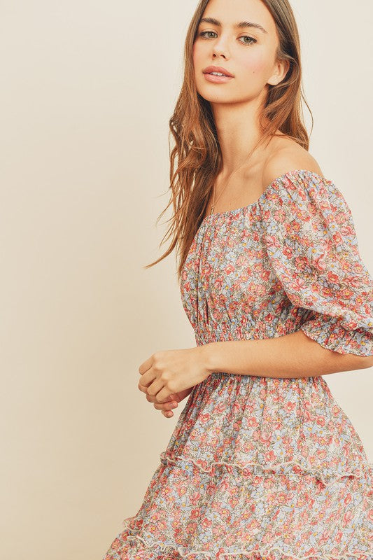 Floral Smocked Waist Tiered Dress