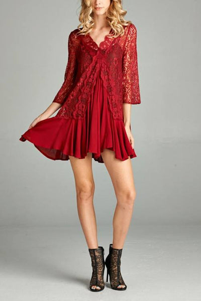 LAST CALL SIZE L | Lace Contrast Mini Dress in Red