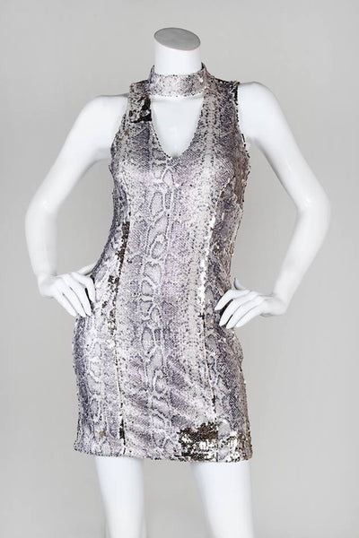 LAST CALL SIZE M | Sequined Snake Keyhole Dress