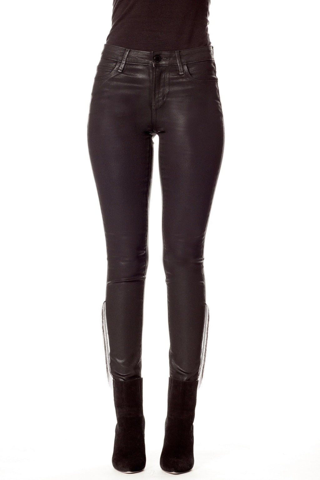 Black Coated Skinny Jeans with Silver Chain Fringe Detail