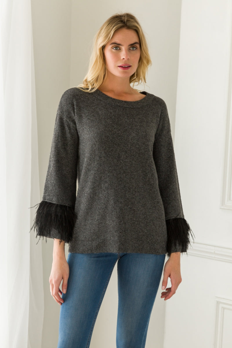 Sweater with Feather Detail Sleeves