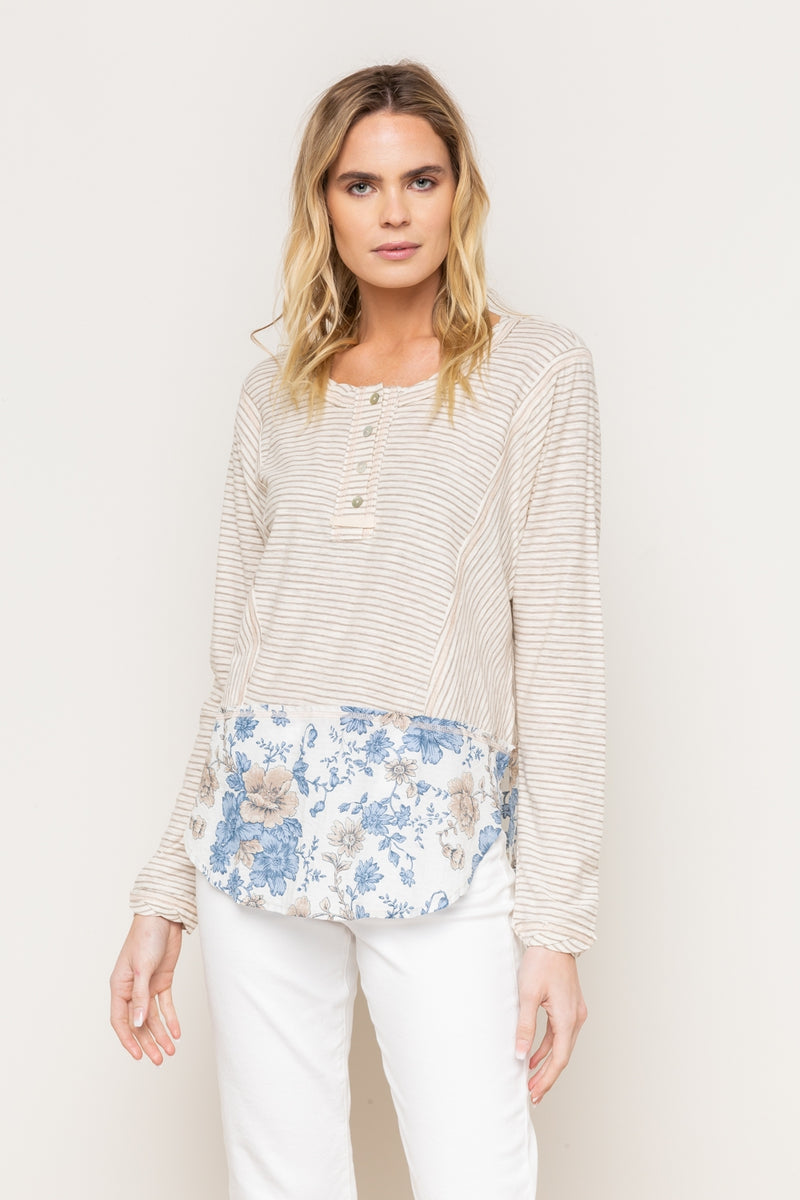 Striped Henley with Floral Bottom