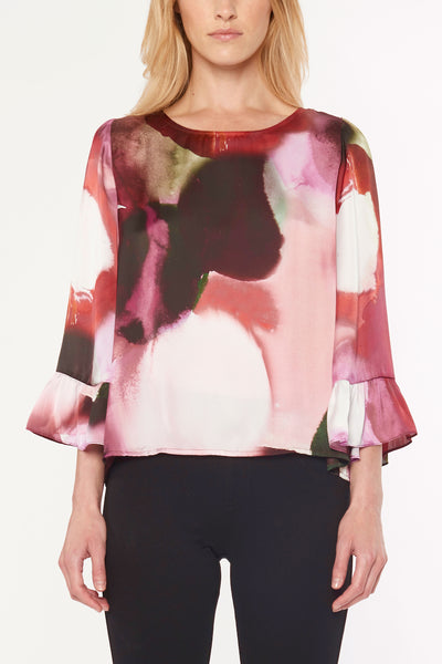 Bell Sleeve Watercolor Blouse