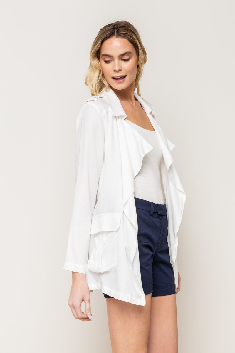 Casual Off White Open Front Blazer