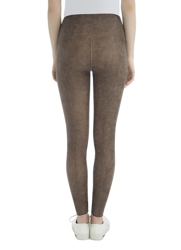 Vegan Leather Legging in Saddle