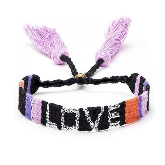 Atitlan Love Bracelet in Coral and Black