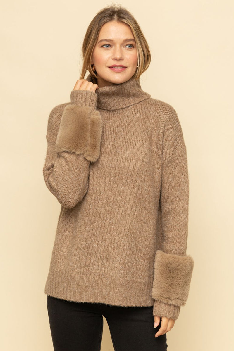 Turtleneck Sweater with Fur Accented Sleeves