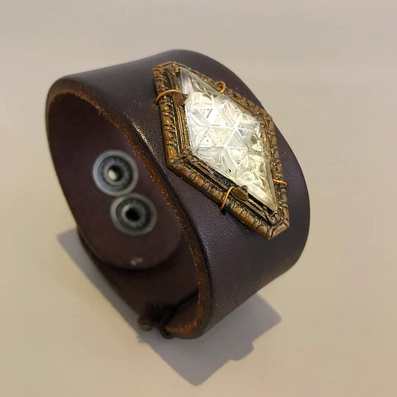 Vintage 1800s Brooch on Leather Cuff