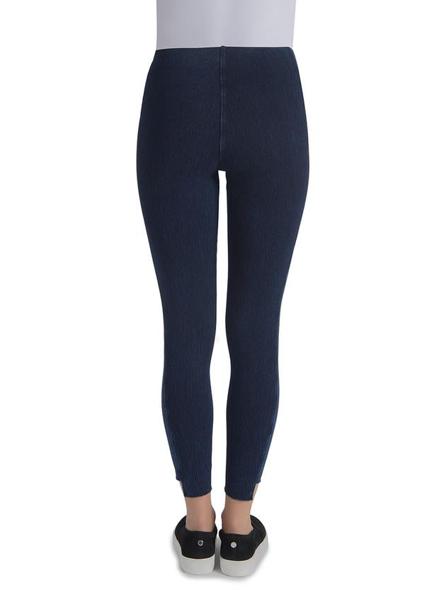 Dual Tone Dark Wash Jean Legging with Step Hem