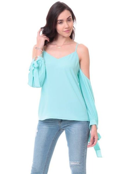 Drop Shoulder Pleated Tie Sleeve Top in Powder Sage
