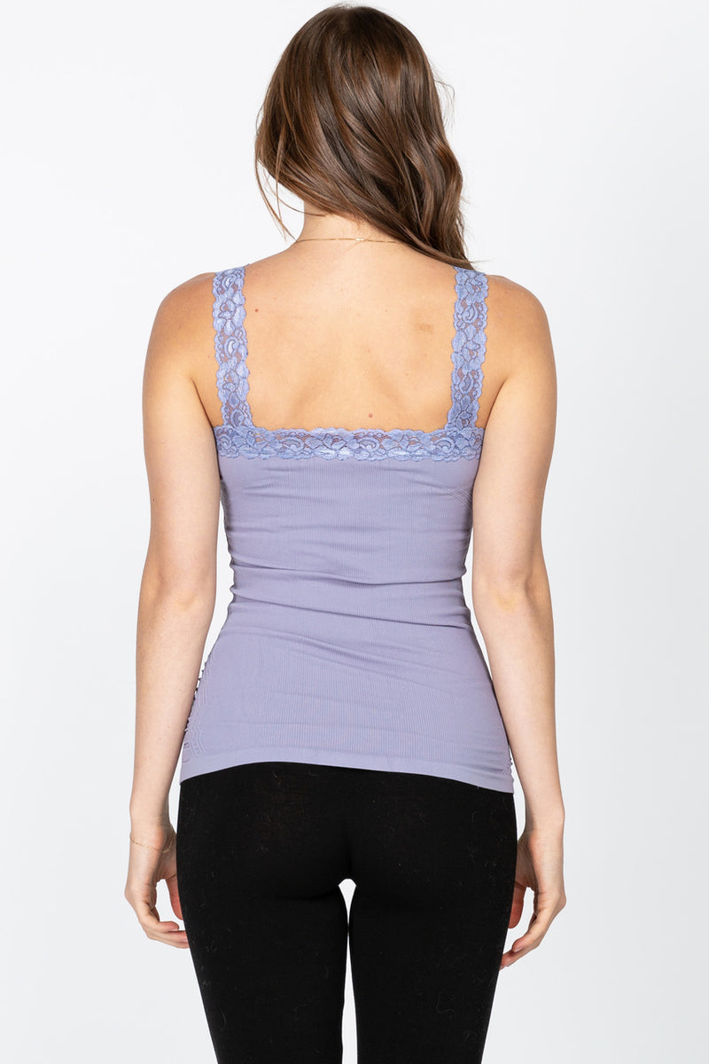 Ruched Lace Corset Cami in Blue Iris