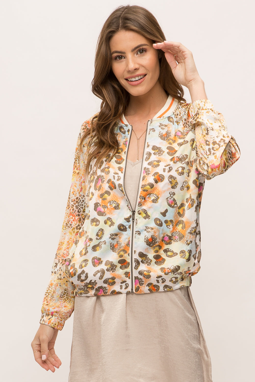 LAST CALL SIZE L | Satin Bomber Jacket in Leopard Print