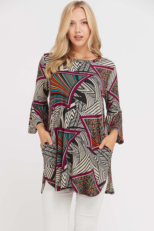 LAST CALL SIZE L | Bell Sleeve Mixed Print Dress