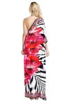One Shoulder Zebra Flower Dress