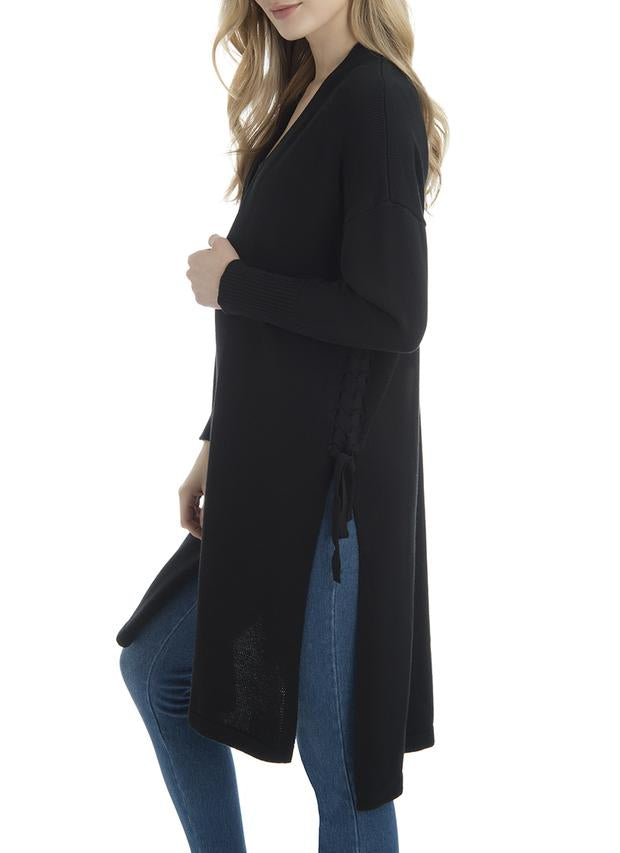 LAST CALL SIZE M | Midi Cardigan w/ Braid Detail in Black