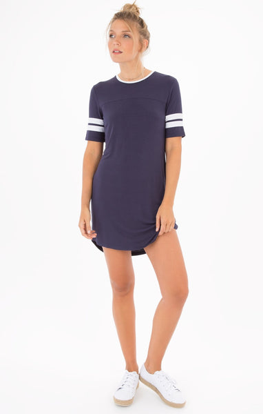 Baseball T-Shirt Dress in Navy