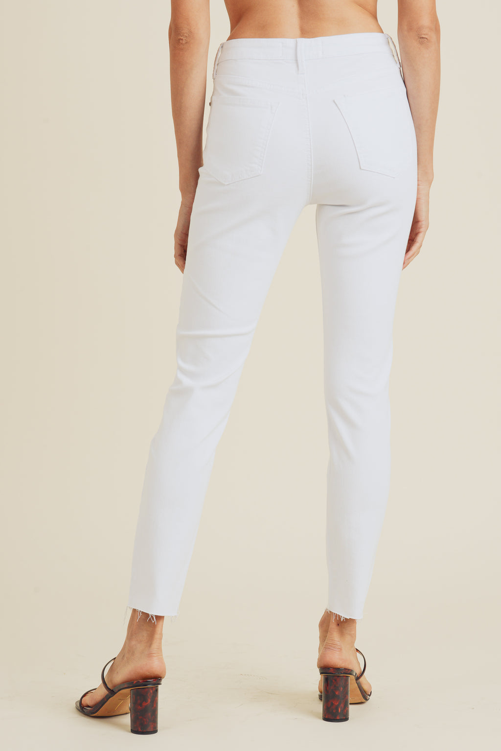 Scissor Cut Skinny Jeans in White