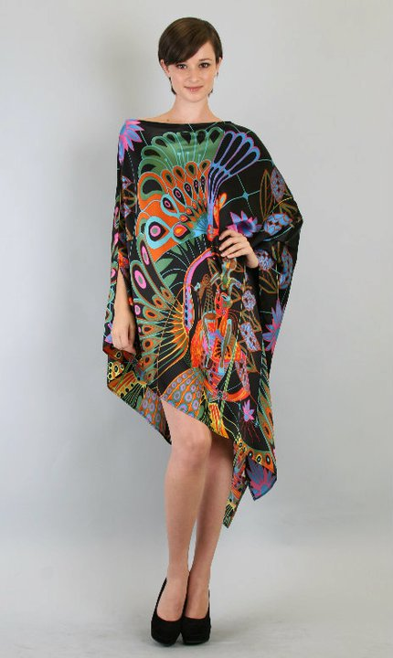 Poncho Long Silk Dress in Black/Gold