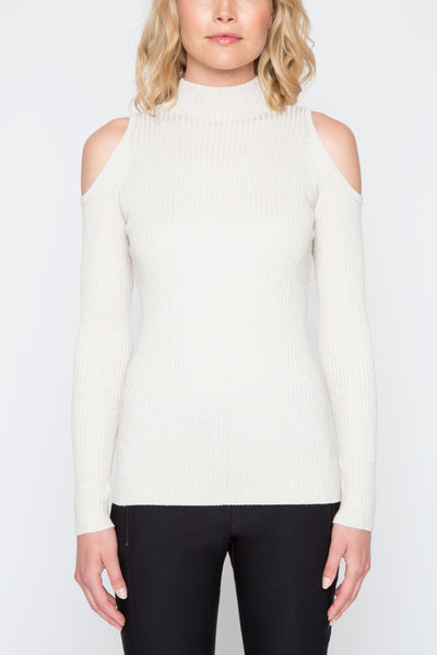 Cold Shoulder Lurex Sweater in Champagne