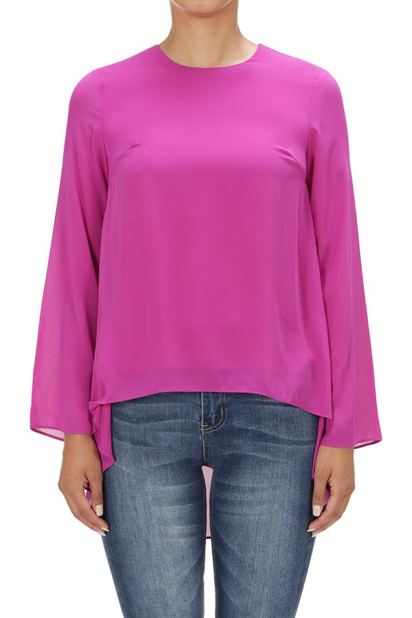 LAST CALL SIZE M | High Low Scoop Neck Top in Magenta