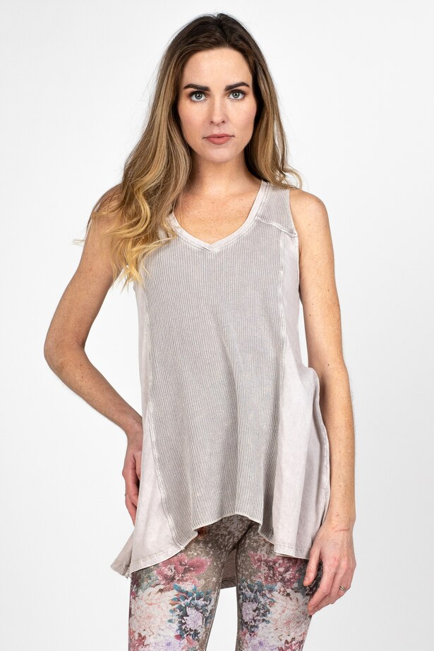 LAST CALL SIZE SIZE L | Ribbed Front Tank Top in Taupe