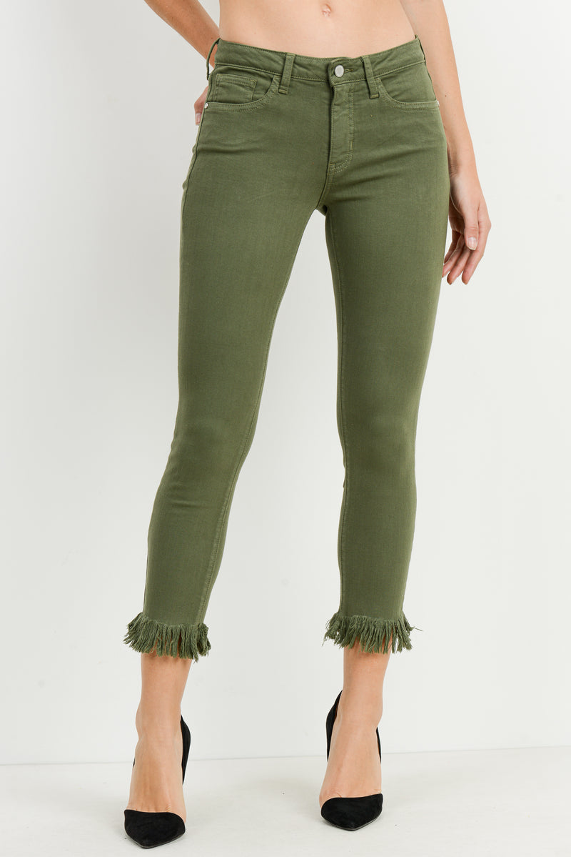 Skinny Cropped Moss Jeans with Fringe Hem