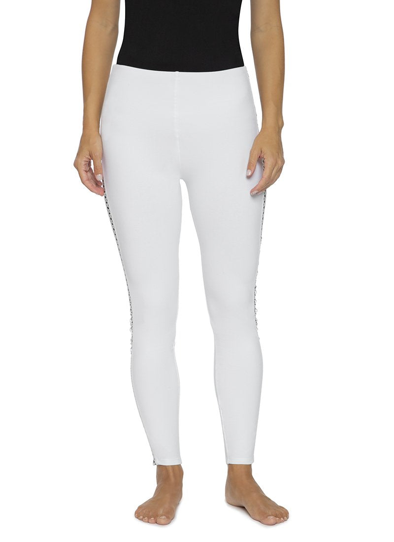 Contrast Cross Stitch Leggings in White Front