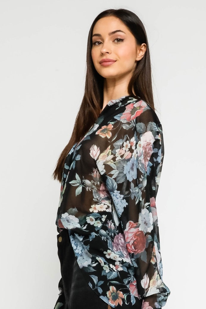 Sheer Long Sleeve Floral Blouse