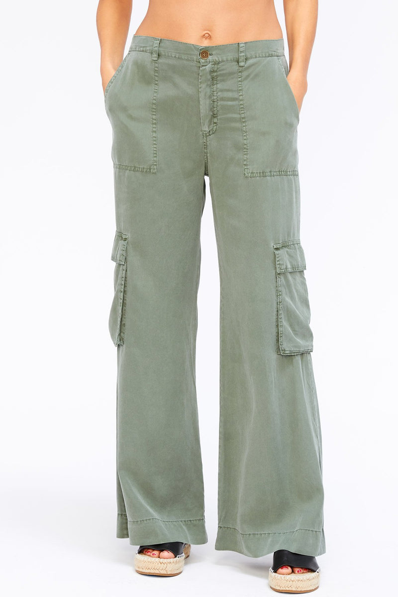 Wide Leg Twill Cargo Pants in Faded Olive