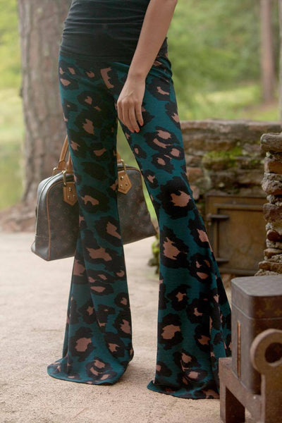 LAST CALL SIZE L | Leopard Print Flare Pants in Hunter Green