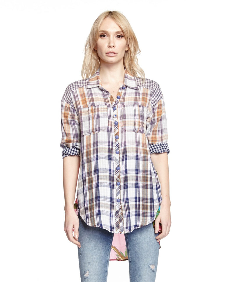 Hibiscus Button Down Plaid Shirt